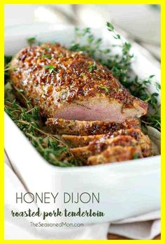 You only need 5 ingredients and about 5 minutes to prepare this tender, juicy, and healthy Honey Dijon Roasted Pork Tenderloin! It might look like a fancy holiday meal, but this clean eating dinner is about to become your go-to weeknight special! Pork Roast Recipes, Bacon Recipes, Roast Pork Fillet, Healthy Pork Tenderloin Recipes, Pork Tenderloin Marinade, Healthy Pork Recipes, Pork Chops, Mustard Pork Tenderloin, Roasted Pork Tenderloins