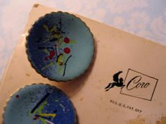 CORO PEGASUS Ladies Cuff Links Blue Enamel Modernist Abstract on Original Card #Coro