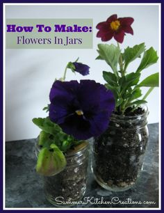 Flowers In Jars: How You Can Easily Make Beautiful, Inexpensive Flower Planters - Flowers In Jars are sure to bring a ray of sunshine to any room or gift you present - SummerKitchenCreations.com
