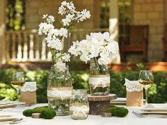 jazzing up vases and mason jars. We could use lace too, or a lacy-ish ribbon to tie around