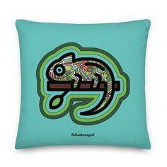Kissen • kunterbuntes Chamäleon – türkis • Design Samba, Pillows, Art, Peace Dove, Pillow Design, Ghosts, Kunst, Art Background, Performing Arts