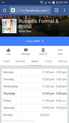 Russells Formal and Bridal hours