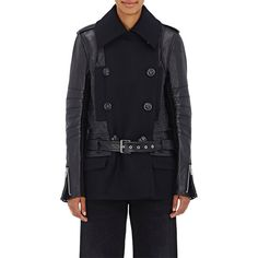 Sacai Women's Moto-Peacoat Jacket ($2,240) ❤ liked on Polyvore featuring outerwear, jackets, navy, navy blue pea coat, real leather jackets, navy pea coat, double breasted jacket and pea coat