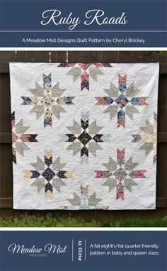 Ruby Roads - a pdf Quilt Pattern - instant download RUBY ROADS is a intermediate level, modern quilt pattern based on the traditional Rudy Roads quilt block. The cover version of the quilt was made using the Les Fleurs collection by Rifle Paper Co. for Cotton + Steel on a white
