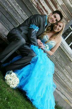 Prom picture ideas, blue dress, hair, corsage, garter, bouquet, cute couple pictures, fancy, suit, pose