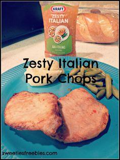 I'm Getting Zesty in the Kitchen with Kraft Zesty Italian + Sweeties Giveaway Italian Pork Chops, Italian Chicken, Pork Recipes, Fendi Bracelet, Baked Pork Chops, April 25, Quick Meals, Delicious Food