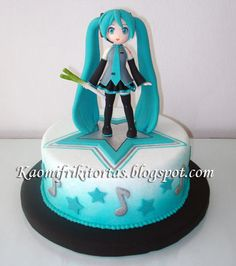 10th Birthday Parties, Birthday Party Decorations, Birthday Ideas, Fondant Cakes, Cupcake Cakes, 3d Cakes, Hatsune Miku Birthday, Sweet 16 Sleepover, Jasmin Party