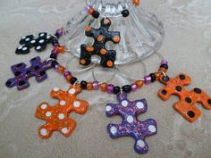 Halloween Colors Wine Charms  Upcycled Puzzle by savardstudios, $17.95  A portion of each purchase goes to Autism Speaks!
