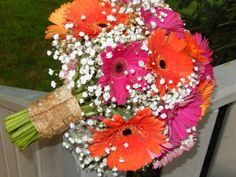 Pink and Orange Gerbera Daisies with lots of Big Love Baby's Breath .  Bouquet is cuffed with Birch bark.  Strips of the bark are soaked in water to make them pliable.