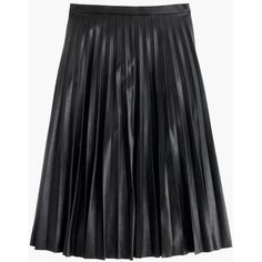 J.Crew Petite Faux-Leather Pleated Midi Skirt ($160) ❤ liked on Polyvore featuring skirts, bottoms, saias, petite, mid calf skirts, petite long skirts, midi skirt, faux-leather pleated skirts and long faux leather skirt