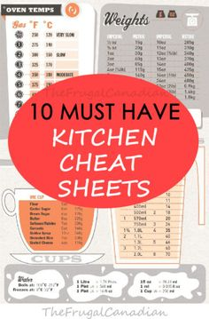 10 Must Have Kitchen Cheat Sheets And Printable Charts