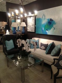 Festoni Showroom via La Dolce Vita #HPMKT  - love the charcoal, cream and turquoise