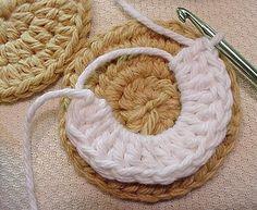 Crocheted Oreo-style Golden Vanilla COOKIES — in process, via Flickr.