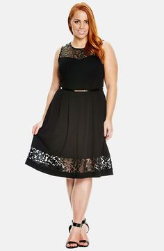 97a1d12772 City Chic  Rocker Lace  Fit  amp  Flare Dress (Plus Size) available