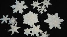 Edible gum paste snowflakes