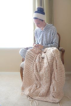 Cable Knit Afghan Blanket Pattern Easy Knitting
