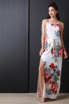 Floral Print Deep Slit Sleeveless Waist-Tie Maxi Dress