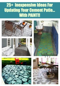 25+ Inexpensive Ideas for Updating Your Cement Patio, With Paint!   by GiddyUpcycled.com