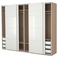 Interesting Design Built In Closet Ideas featuring Wooden Wardrobe With Sliding Doors and Single Hanging Bars