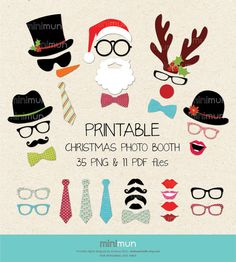 Christmas Photo Booth Christmas Party Printables by MiniMunStudio, $9.00....this would be fun and send home the pic in a cute frame that they decorate
