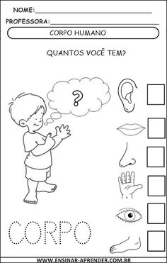 ATIVIDADES ESQUEMA CORPORAL | Cantinho do Educador Infantil Preschool Science, Science Activities, Toddler Activities, Kindergarten, Tracing Worksheets, Blog Planner, Math For Kids, After School, Free Books