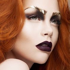 """""""Gold Lamé Eyebrows and Matte Aubergine Lips. Editorial Makeup."""" can we just talk about these eyebrows for a sec though?? Look by Romero Jennings #WinWayneGossTheCollection"""