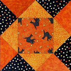 BOO!  Black Cats Halloween Quilt Blocks.  Christmas fabrics or even fall fabrics.