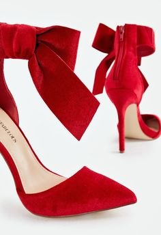 Charm the entire room when you strut in with these gorgeous pumps featuring an ankle strap detail and large satin bow.... Ankle Strap Heels, Ankle Straps, Diamond Stores, Simply Red, Red High Heels, Vogue, Fashion Heels, Satin Bows, Formal Shoes