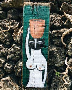 항아리를 든 여인 2 / Oil on driftwood / 900x300