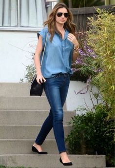 How to Chic: MIRANDA KERR - DOUBLE DENIM OUTFIT