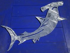 Hammerhead Shark Metal Wall, Patio, Garden Art, aluminum, indoor or outdoor, won't rust or tarnish on Etsy, $45.00