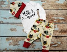 Hello World Newborn Set, ORGANIC, Coming Home Outfit by PineyWoodsBoutique on Etsy https://www.etsy.com/listing/490456875/hello-world-newborn-set-organic-coming
