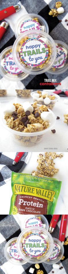 Happy Trails to You! Trail Mix Printable and Containers. An easy DIY end of year gift or summer snack for kids.