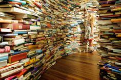 Brazilian artists create colossal labyrinth using 250,000 books at Southbank Centre