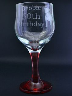 Etched Coloured Base Wine Glass with Personalised Birthday Message and Etched Dog