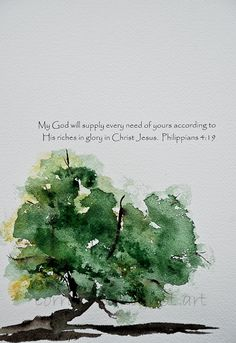 watercolor  Lovely simple tree. I like the calligraphy, but it works with or without.