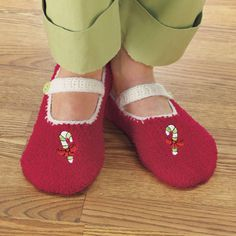 Mary Jane Candy Cane Slippers -  Potpourri Gift
