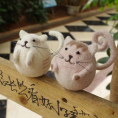 Needle Felt Felted Felting Wool Animals Cats Couples Cute Crafts