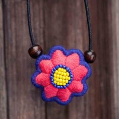 Eight flowers cotton flower embroidery handmade ethnic necklace [EN0039] - US$25.00 : EveryMade