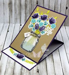Nicole Wilson Independent Stampin' Up! Mason Jar Cards, Mason Jars, Stampin Up Catalog 2017, What Are Colours, Paper Crafts, Diy Crafts, Flower Cards, Cardmaking, Card Ideas