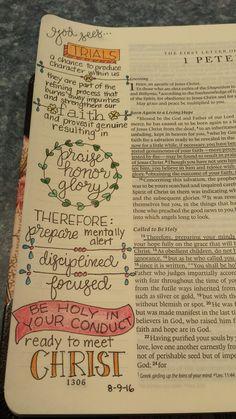 Trials 1 Peter 1:6-9, 13-16 Bible Study Journal, Journal Art, 1 Peter, Bible Prayers, Bible Scriptures, Peter Bible, Easy Doodles Drawings, Bible Illustrations, Church Activities