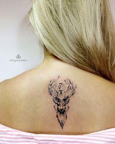 lower back tattoos for women Deer Head Tattoo, Head Tattoos, Cover Up Tattoos, Body Art Tattoos, Back Tattoo Women, Tattoos For Women Small, Hirsch Tattoos, Stag Tattoo Design, Pretty Skull Tattoos