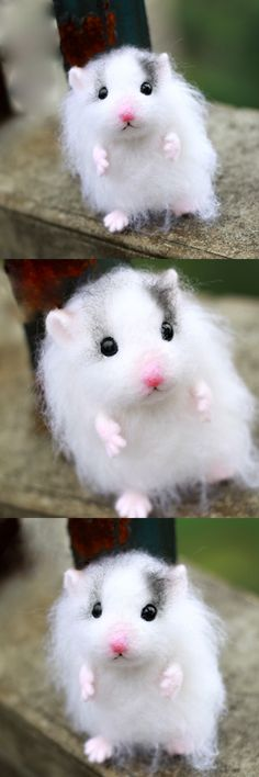 Handmade Needle felted felting project animal cute hamster mouse felted wool doll - Another! Felted Wool Crafts, Felt Crafts, Needle Felted Animals, Felt Animals, Wooly Bully, Wool Dolls, Needle Felting Tutorials, Baby Mobile, Cute Hamsters