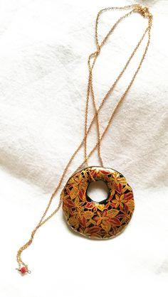 Collana ciondolo giapponese resina dipinta a mano /gioielli giapponesi /  gioielli resina / regali giapponesi / gioielli fiori / kimono