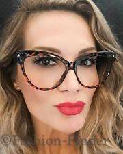 Oversized Large SEXY Cat Eye Wayfarer Pin Up Clear Lens Nerd Glasses Frames Big