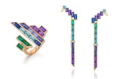 "Trend tracking: baguettes are back. The ""Electric Night"" cocktail ring and earring cuffs by Tomasz Donocik are made in 18-karat rose gold with baguettes of amethyst, tanzanite, sapphire, iolite and emeralds (ring, $5,870; earrings, $8,280)."