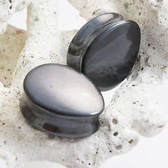 Pair of Hematite Organic Double Flared Teardrop Stone Ear Plugs Gauges 16.5-35mm  | eBay