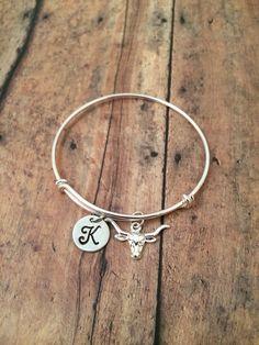 Longhorn charm bracelet - longhorn bracelet, silver longhorn charm, personalized bracelet, hand stamped jewelry on Etsy, $16.00
