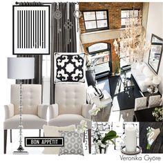 brick walls, white, silver & black interior in a loft http://lakjjol.blogspot.hu/
