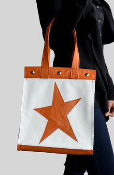 White Leather Tote White Leather Handbag by SaracinoDesigns White Leather Handbags, Leather Purses, Tote Purse, Tote Bags, Leather Handle, Camel, Totes, Stars, Classic